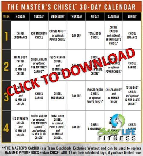 Hammer and Chisel Calendar and Schedule PDF Download