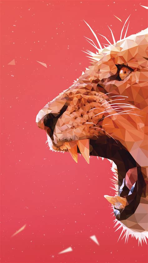 Wallpaper Lioness, Aggressive, Triangles, Low poly, HD, 5K