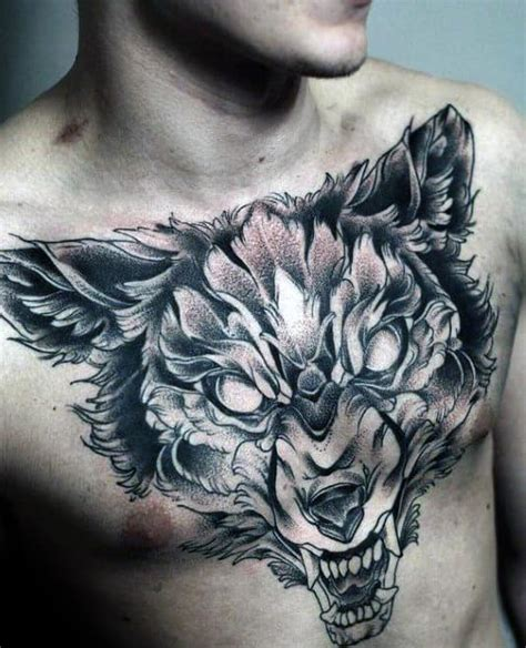 60 Wolf Chest Tattoo Designs For Men - Manly Ink Ideas
